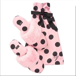 Victoria's Secret Satin Polka Dot Slippers